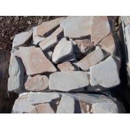 Песчаник галтованный бело-рыжий с разводами, 5-6,5см.