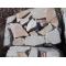 Песчаник галтованный бело-рыжий с разводами, 6-8см.